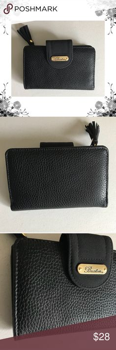 47600bb7bd3e  Buxton  Black Organizational Tab Wallet Manufacturer Color is Black. New  with tags.