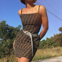 "0a9a5e6060  masharoush on Instagram  ""(SOLD) Vtg Fendi Zucca mini dress. Spaghetti  straps and zip back closure. Marked size is L but fits more like a US SZ  0 2 Pit to ..."