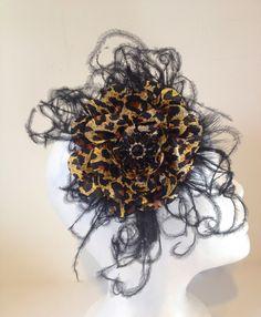 black Feather Satin Cheetah Headband  Fancy Girl Deigns