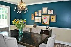 Dining Room Walls Going for a brighter teal. Vacuums Commercial or Domestic? Dining Room Blue, Accent Walls In Living Room, Dining Room Walls, Dining Room Lighting, Living Room With Fireplace, Living Room Colors, Teal Rooms, Teal Walls, Dining Room Colour Schemes