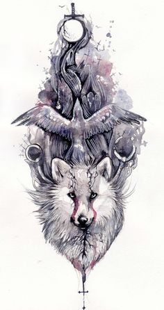 Artistic sketch and watercolor wolf and crow tattoo Wolf Tattoos, Tribal Wolf Tattoo, Wolf Tattoo On Back, Celtic Tattoos, Animal Tattoos, Tattoo Sketches, Tattoo Drawings, Body Art Tattoos, Rabe Tattoo