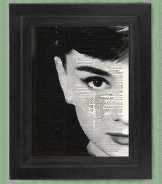 Audrey Hepburn portrait Left art print dictionary by HelloUwall
