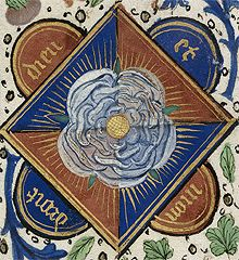 The white rose of the House of York, depicted in a manuscript of the 1470s-Edward IV's death on 9 April 1483 did not appear to threaten Lord Hastings.He favoured Richard,Duke of Gloucester,Edward IV's brother,as Protector,over the coronation of the 12-year-old Edward V which was sought by the boy's mother,Elizabeth Woodville.He attended the fateful council meeting at the Tower,at which Gloucester accused him of conspiring with the Woodvilles against him.