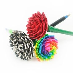 How to make ordinary office supplies beautiful with duct tape. Create a simple rose pen that's perfect for work or school, from Duck® brand. http://www.duckbrand.com/craft-decor/activities/rose-pens?utm_campaign=dt-crafts&utm_medium=social&utm_source=pinterest.com&utm_content=duct-tape-crafts-flowers