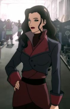 Asami Sato, from the new A:TLA sequel, Legend of Korra. This jacket is AMAZING. Waaaant~