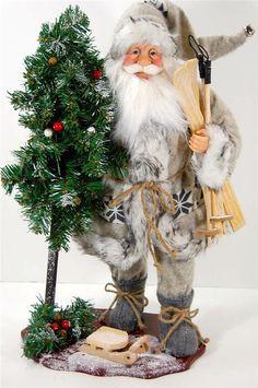 "Rustic Santa Clause Christmas Old World Woodland Fur Doll Decor 20"" Base & Skis"