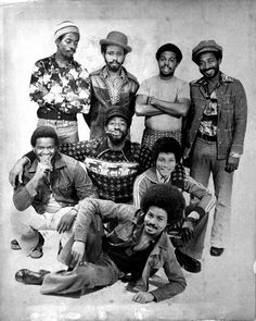 """Official promo photo of THE SOUL SYNDICATE  with Donovan Carless, Earl """"Chinna"""" Smith, George """"Fully"""" Fullwood, Carlton """"Santa"""" Davis, Arnold Brackenridge, Jack D. Miller, Keith Sterling, Tony """"Valentine"""" Chin and Enroy """"Tenor"""" Grant..."""