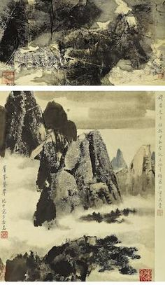 Wang Jiqian (C.C. Wang, 1907-2003) Two Landscape Paintings Ink and colour on paper, two hanging scrolls  Each signed Jiqian with two or three seals of the artist, one with a collector's seal  Dated gengxu year (1970) and jiachen year (1964) 29.5cm x 56.5cm (11½in x 22¼in) and 49cm x 39.5cm (19¼in x 15½in). (2).  王季遷 山水 設色紙本 立軸兩幅 一九七〇年/一九六四年作  款識:庚戌(1970)十月己千。 群峰聳翠。己千寫於香島。穆思先生雅教,甲辰(1964)聖誕,王紀千補署於寶武堂。 鈐印:王己千璽(二印)、石橋邨裏人家、季遷長壽、屋漏痕 藏印:穆思收藏名迹