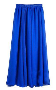Huusa Womens Chiffon Double Layer Beach Boho Long Maxi Skirts Royal Blue