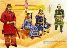persian sassanid emperor Khosrau II with his christian wife Shirin, Khosrau II
