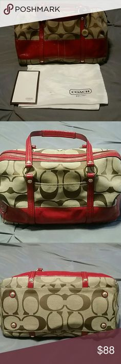 Authentic Coach Signature Bag Authentic Coach Bag. Red leather and brown signature print. In good, used condition. Outside shows minimal wear. Inside there are a few stains which are indicated in 4th picture. Zipper and straps are in good, working condition. Outside pocket for easy access to phone, etc. Pockets inside for organization. Bag has feet on bottom. Comes with original dust bag (small stains) and care card. I can show more pictures for serious inquiries.  Measurements: Length 12…