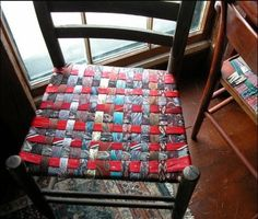 Give an old chair a spiffy new seat with upcycled men's neckties!  #diy #home…