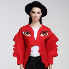 2017 New Fashion Cool Women Design Stunning Wave Cutting Open Stitch Eyes Embroidery Casual Jackets Outerwear Pop Art Fashion, Quirky Fashion, Fashion Moda, Fashion 2017, New Fashion, Runway Fashion, Fashion Outfits, Fashion Design, Face Fashion