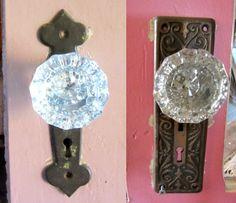 Crystal Glass Doorknobs - 2 Door Plates - Lock Mechanism - Victorian - by stateandmainvintage on Etsy