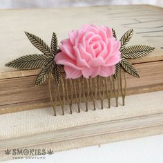 Marijuana hair accessories, stoner girl, stoner gift,pink hair accessories rose comb cannabis accessory maple leaf CABBAGE PINK BRONZE
