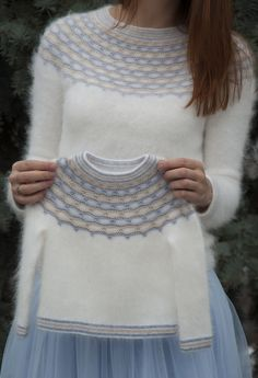"Ravelry: Winter Angel pattern by Tanya Mulokas . I know it is knitted, but have to crochet something white and fluffy ;""If angels wore pullovers, I know who would knit them for them!"" - these words said by my friend gave the name to this design. Baby Knitting Patterns, Knitting For Kids, Knitting Designs, Free Knitting, Girls Sweaters, Baby Sweaters, Baby Pullover, Fair Isle Knitting, Cardigan Pattern"
