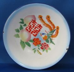 Enamelware Bowl Asian Fantasy Bird Peaches Chippy Kitchenalia Enamel Basin by RuthsBargains on Etsy Vintage Enamelware, Metal Bowl, Chinese Symbols, China Patterns, Dinnerware, Serving Bowls, Red And Blue, Oriental, Peaches