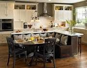 Wonderful Small Kitchen Island With Seating Using Black Colors. This picture is one of many ideas on small kitchen island with seating. Kitchen Island Built In Seating, Kitchen Table Bench, Kitchen Island Table, Kitchen Islands, Kitchen Seating, Island Bench, Kitchen Cabinets, White Cabinets, Floors Kitchen