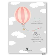 Easily personalized and shipped in a snap! Find a cute and stylish baby shower invite, like this hot air balloon design, perfect for honoring mommy and baby.