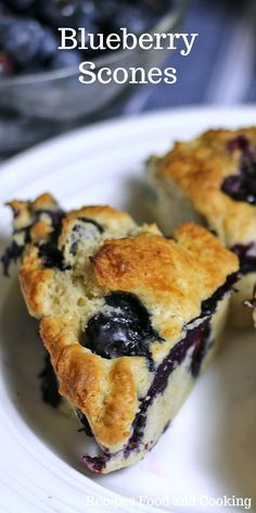 Blueberry Scones Tender and light blueberry scones topped with honey and butter.