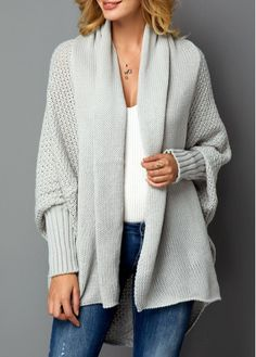 Light Grey Long Sleeve Open Front Cardigan Women Clothes For Cheap, Collections, Styles Perfectly Fit You, Never Miss It! Cardigan Outfits, Cardigan Sweaters For Women, Grey Cardigan, Open Front Cardigan, Long Sweaters, Cardigans For Women, Ladies Sweaters, Knit Sweaters, Jackets
