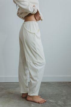 Womens Bralette, Bralette Tops, White Lounge, Detroit Michigan, Off White Color, Lounge Pants, Elastic Waist, Organic Cotton, Ties
