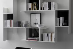 Byblos, Modular wall bookcase in wood: buy now on Sediarreda, Online Offers, Chairs, Tables and Furnishing accessories. Bookshelves For Small Spaces, Wall Mounted Bookshelves, Furniture For Small Spaces, Decorating Small Spaces, Wall Shelves, Bookcases, Shelf, Modular Walls, Modular Shelving