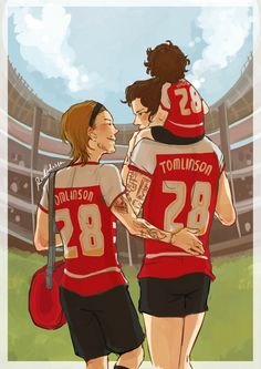 This Larry Stylinson fan art makes me want to cry. Louis and Harry with a kid gives me so many emotions <3