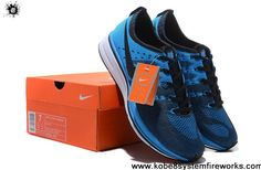 Cheap Discount Nike FlyKnit Trainer Royal Blue Glow Black 532984 440 for Mens running shoes Shoes Store