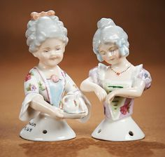 View Catalog Item - Theriault's Antique Doll Auctions Two German Porcelain Half Dolls of 18th Century Children by Goebel