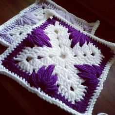"""The Leaf Stitch Granny Square combines a unique granny square design with the Leaf stitch.. which is also called many names since the original name is unknown. For example """"spiked cluster stitch"""""""