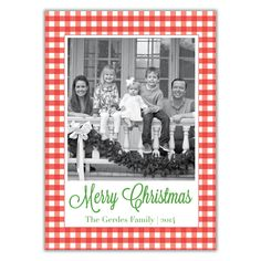 Gingham Christmas Photo Card - BrownPaperStudios.com New Year Greeting Cards, New Year Greetings, Christmas Photo Cards, Christmas Photos, Very Merry Christmas, Print Packaging, Holiday Festival, Diy Cards, White Envelopes