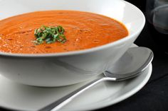 Spicy Roasted Red Pepper and Tomato Soup -- red bell peppers, garlic, onion, red chili flakes, plum tomatoes, vegetable stock, basil leaves, sherry vinegar