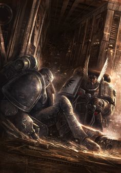 A Deathwatch Space Marine of the Dark Angels Chapter looks upon a long dead Legionnaire from the Crusade Era Warhammer 40k Art, Warhammer Fantasy, Warhammer Models, Techno, The Horus Heresy, Science Fiction, Pale Horse, Deathwatch, Space Marine