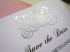 Cinderella Carriage Fairytale Silver Save by WhiteGownInvitations