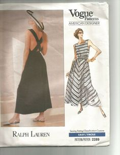 Vogue Am Designer Ralph Lauren Long Pantdress/Dress Vogue Patterns, Sewing Patterns, Sun Dresses, Vogue Fashion, Strapless Dress, Ralph Lauren, Couture, Clothes For Women, Female