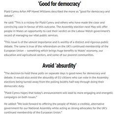 Western Mail covers @Plaid_Cymru response to news EU ref and Assembly election dates won't clash @HywelPlaidCymru