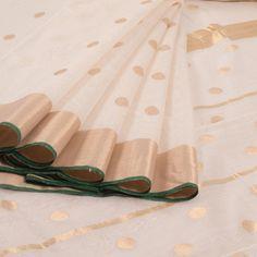 Marm White Handwoven Chanderi Silk Cotton Saree With Tissue Border & Polka Dots Motifs 10007933 - profile - AVISHYA.COM