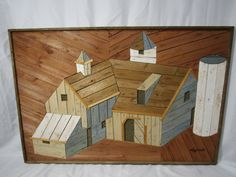 Theodore Degroot Farmhouse with Silo Lath Art, Lath Art, Folk Art, Vintage Wood, Owl, Wall Decor, Rustic Decor, Austin Productions, Pallet Art This is a great mid century modern piece of art by Theodore Degoot. His Farmhouse with Silo Lath art was produced in the 1970s by Austin