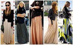 A black jacket toughens up a chiffon maxi skirt. chiffon and leather, what a mix! Maxi Skirt Fall, Maxi Skirt Outfits, Winter Skirt Outfit, Dress Skirt, Maxi Skirts, Maxi Dresses, Long Skirts, Lace Skirt, Winter Outfits