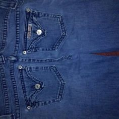 Hudson blue jeans Worn jeans. Worn on bottoms as shown. Normal wear there is a little more wear under crotch area no holes that go through or anything on right left pocket next to little metal button a very small hole as shown. Otherwise normal wear. As is Hudson Jeans Jeans