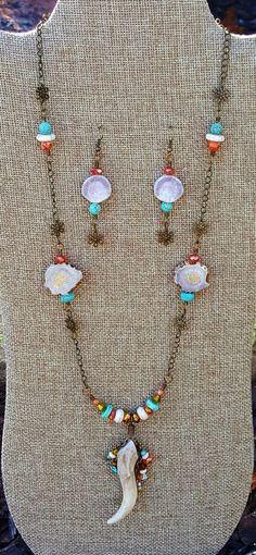 Deer Antler Necklace Set Deer Antler Jewelry, Antler Necklace, Necklace Set, Tassel Necklace, Turquoise Necklace, Jewelry Ideas, Unique Jewelry, Deer Antlers, Gourd