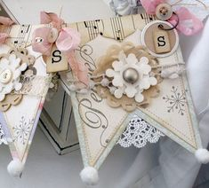 A sweetly delightful, pale hued winter paper banner. #shabby #chic #scrapbooking #banner #paper #crafts #snowflakes #vintage