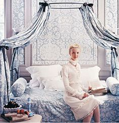 LOVE this image from the famous Domino Magazine Marie Antoinette story.  Pictured is the Anthropologie Campaign Style Canopy Bed.  Image via Cote de Texas.