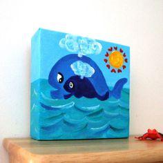Nursery Art MAMA LOVE WHALES No3 5x5 Acrylic Canvas Art by nJoyArt