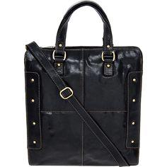 """Brampton"" Black Leather Studded Tote Bag - TK Maxx"