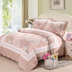 Sweet Floral Light Pink 3-Piece Cotton Bed in a Bag on sale, Buy Retail Price Flower Bed in a Bag at Beddinginn.com