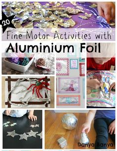 Lots of fine motor activities for toddlers, preschoolers and kindergarten aged kids using aluminium foil. So shiny!
