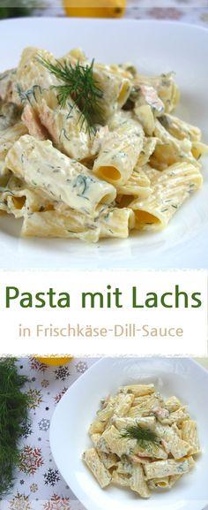 Rezept für Paste / Nudeln mit Lachs und Erbsen in einer cremigen Frischkäse-Dill-Sauce. Das schmeckt auch den Kindern. Mittagessen. #nudeln #lachs #pasta