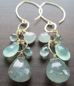 Moss Aquamarine Chain Earrings Gold by friedasophie
